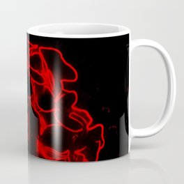 Red electric flowers on black background Coffee Mug