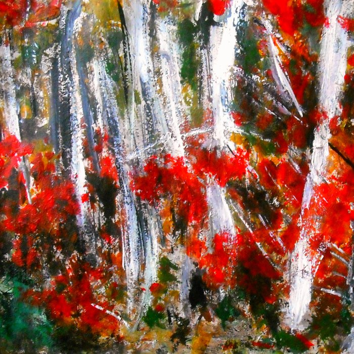 Vermont Fall Autumn Trees Acrylics On Paper Comforters