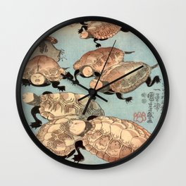 Utagawa Kuniyoshi Strange and Wondrous Immortal Turtles Wall Clock