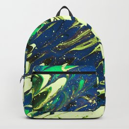 Fluid Acrylic Painting Multi Color Glitch Wave Effect Lime Yellow Green Blue Backpack