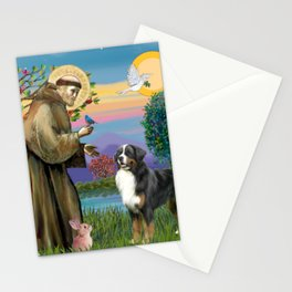 Saint Francis Blesses a Bernes Mountain Dog Stationery Cards