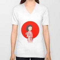chihiro V-neck T-shirts featuring Chihiro by adovemore