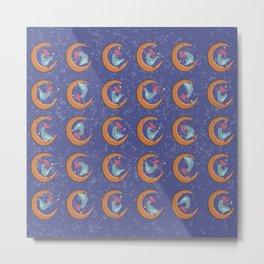 Moon Dance with Golden Orb Pattern Metal Print