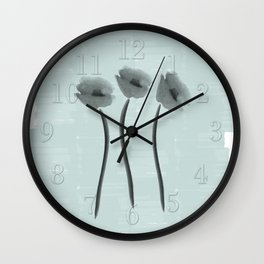 White Anemone Watercolor Impression Wall Clock