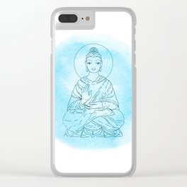 Sitting Buddha over watercolor background Clear iPhone Case