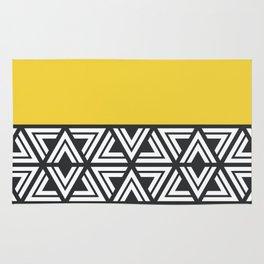 Black, White and Yellow Geo Rug