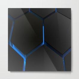 Futuristic hexagons on blue backlight Metal Print