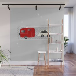 vintage trailer in red Wall Mural