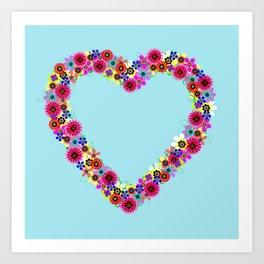Flower Heart Wreath Art Print