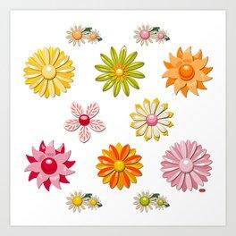 Jackie Enamel Pin Collection (Oranges & Yellows) Art Print