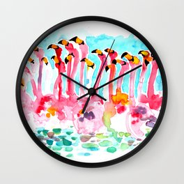 Welcome to Miami - Flamingos Illustration Wall Clock
