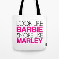 barbie Tote Bags featuring Barbie by I Love Decor