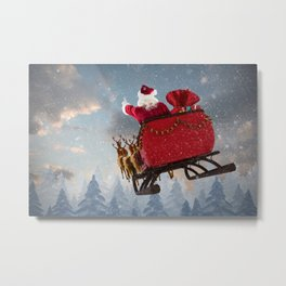 Santa Claus ride on reindeer sleigh with christmas gifts against snow falling on fir tree forest Metal Print