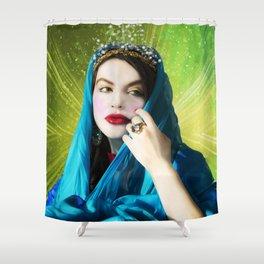 Mary Magdalene in green light Shower Curtain