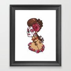 Glamorous Sugar Skull Girl Framed Art Print