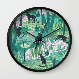 Panthers In Jungle Pattern Wall Clock