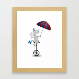 Mouse on unicycle Framed Art Print