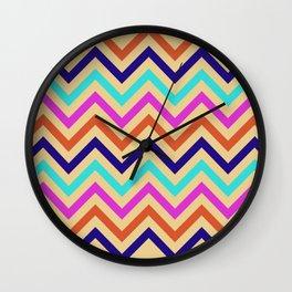 Multicolor Mid-Century Chevron Print Wall Clock