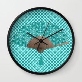 Japanese Fan in Asanoha pattern, Turquoise Wall Clock