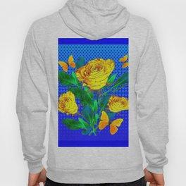 YELLOW BUTTERFLIES, ROSES, & BLUE OPTICAL ART Hoody