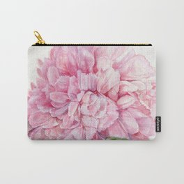 Pink Peony Floral Watercolor Detailed Botanical Garden Flower Realism Carry-All Pouch
