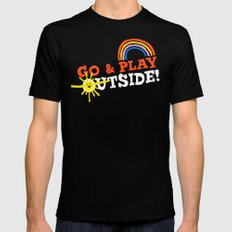 Go & Play Outside! MEDIUM Mens Fitted Tee Black