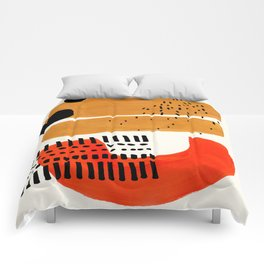 Mid Century Modern Abstract Minimalist Retro Vintage Style Fun Playful Ochre Yellow Ochre Orange Sha Comforters