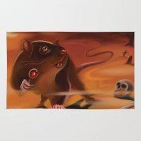 rat Area & Throw Rugs featuring Rat by Brandon Heffron
