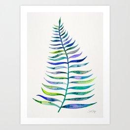 Indigo Palm Leaf Art Print