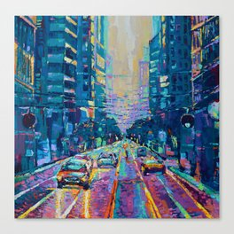 Streets of San Francisco - modern urban city landscape at sunrise by Adriana Dziuba Canvas Print
