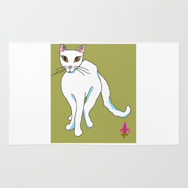 White Kitty Snow Flake with green background Rug