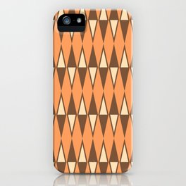 Mid Century Modern Diamond Pattern Brown Orange 231 iPhone Case