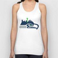 seahawks Tank Tops featuring Seattle Seahawks Skyline by Ainslie Kellas