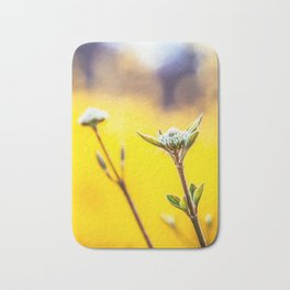 Printable Flowers Photo, First Green Blossoms on a Bush, Bright Blur Yellow Background. Bath Mat