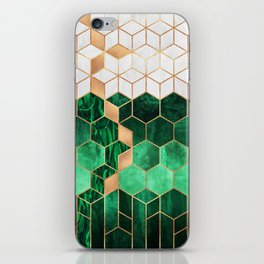 Emerald Cubes And Hexagons iPhone Skin