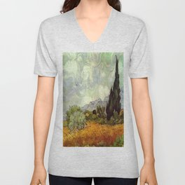 Vincent van Gogh's Wheat Field with Cypresses Unisex V-Neck