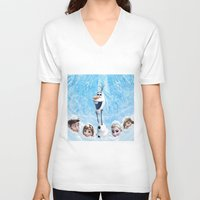 olaf V-neck T-shirts featuring FROZEN OLAF  by BESTIPHONE5CASESHOP