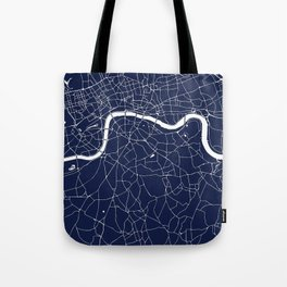 Navy on White London Street Map Tote Bag
