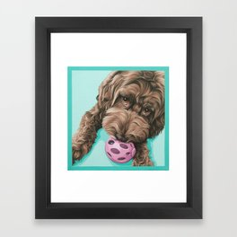 Labradoodle Dog with a Ball Art, Cute Puppy with Toy, Labradoodle Portrait Framed Art Print
