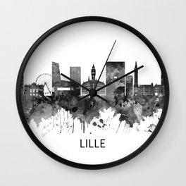 Lille France Skyline BW Wall Clock