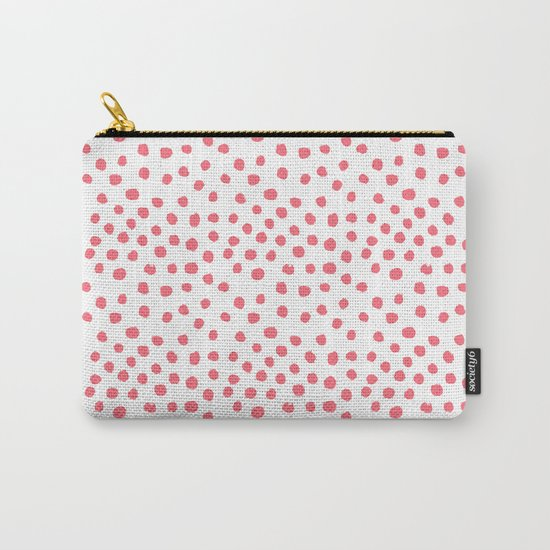 Coral dots pattern minimal painted polka dots Carry-All Pouch