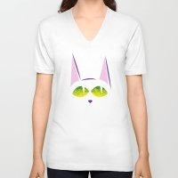 black cat V-neck T-shirts featuring Black cat  by AhaC