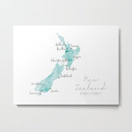 New Zealand Labelled Map // Turquoise Watercolour Metal Print