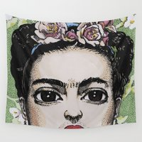 frida kahlo Wall Tapestries featuring Frida Kahlo by Drawn by Nina
