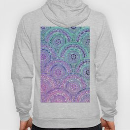 Aqua Blue Purple and Pink Sparkling Glitter Circles Hoody