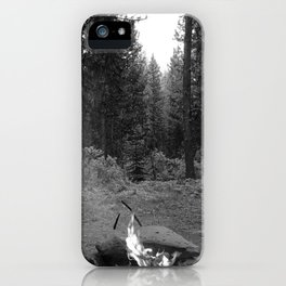 Backpacking Camp Fire B&W iPhone Case