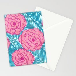 Tropical Palm Leaves and Roses Print Stationery Cards