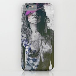 To The Marrow: Purple (faceless nude woman with lilies tattoos) iPhone Case