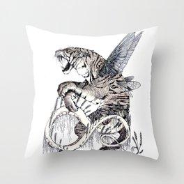 Wheat Tiger Chimera Throw Pillow