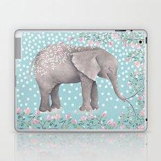 Beautiful Elephant with flowers on dots backround-Animal, flower, dot Laptop & iPad Skin